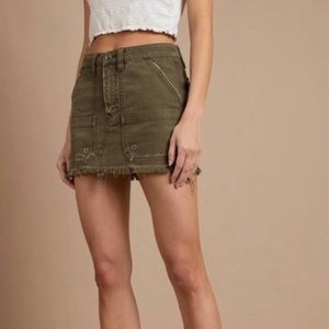 Free People Moss Canvas Relaxed Mini Skirt
